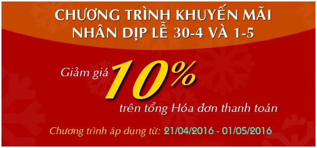 Giảm 10% Mừng Xuân Bính Thân - Hết Ngày 29/2/2016